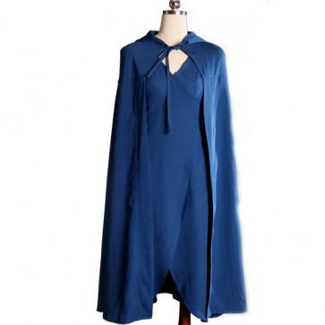 Daenerys Blue Dress Cape Cosplay Costume Games of Thrones Halloween Costume