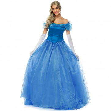 New Cinderella Blue Dress Cosplay Costume