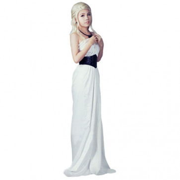 Daenerys Targaryen Khalessi White Dress With Black Belt Costume Game of Thrones