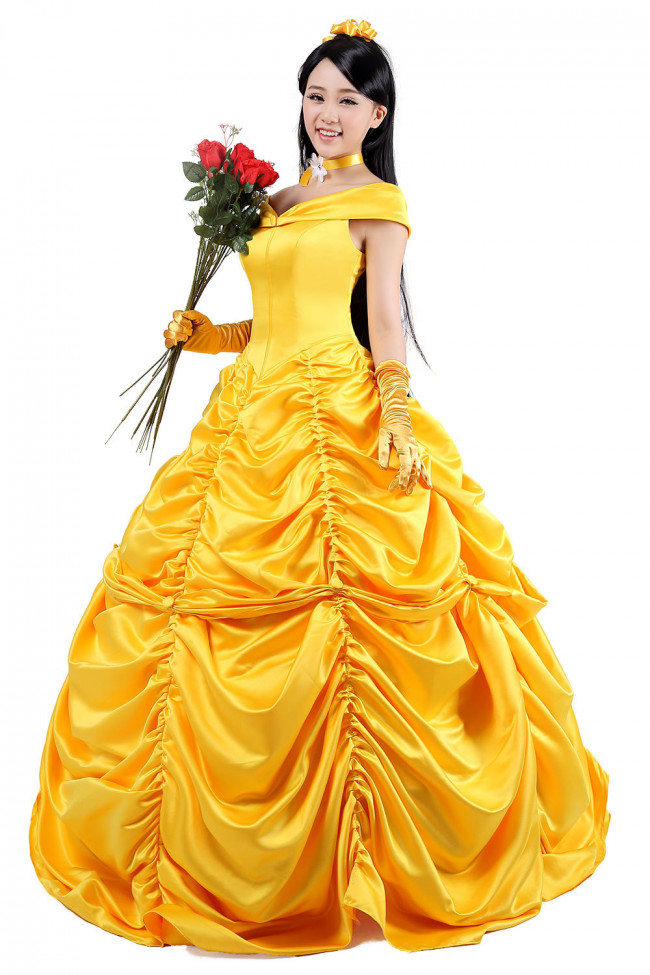 Girl Princess Dress up Halloween Beauty and the Beast Set Cosplay Party Costumes