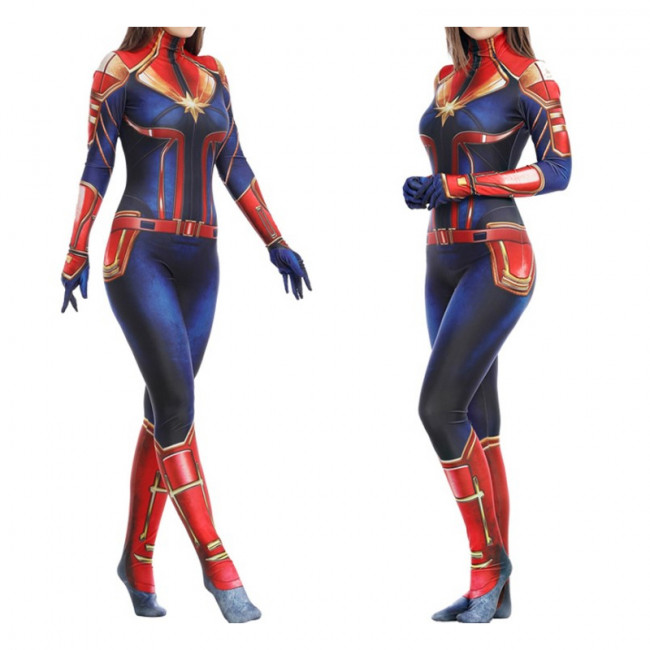 Deluxe Captain Marvel Women S Costume Costume Party World Denim, knitted fabric,artificial leatherfull set including: deluxe captain marvel women s costume