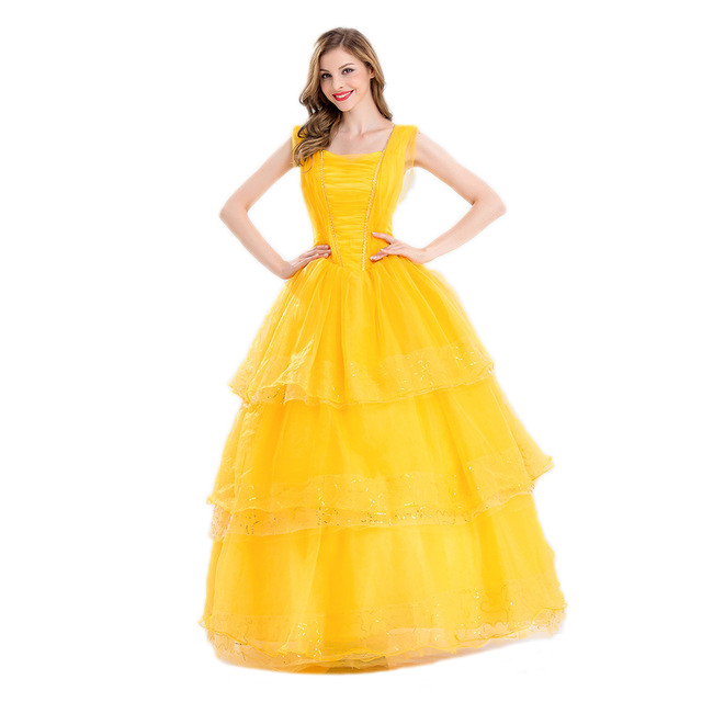 disney beauty and the beast belle cosplay costume dress for ladies halloween costume