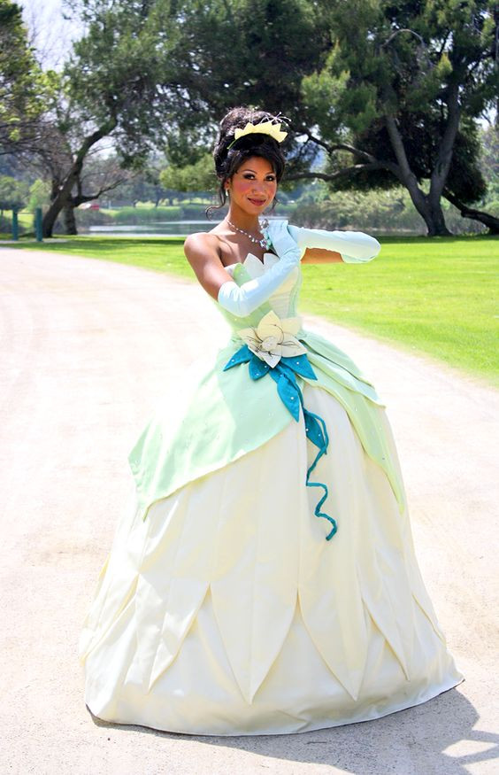 Disney Tiana Beauty Princess Cosplay Costume Dress For ...