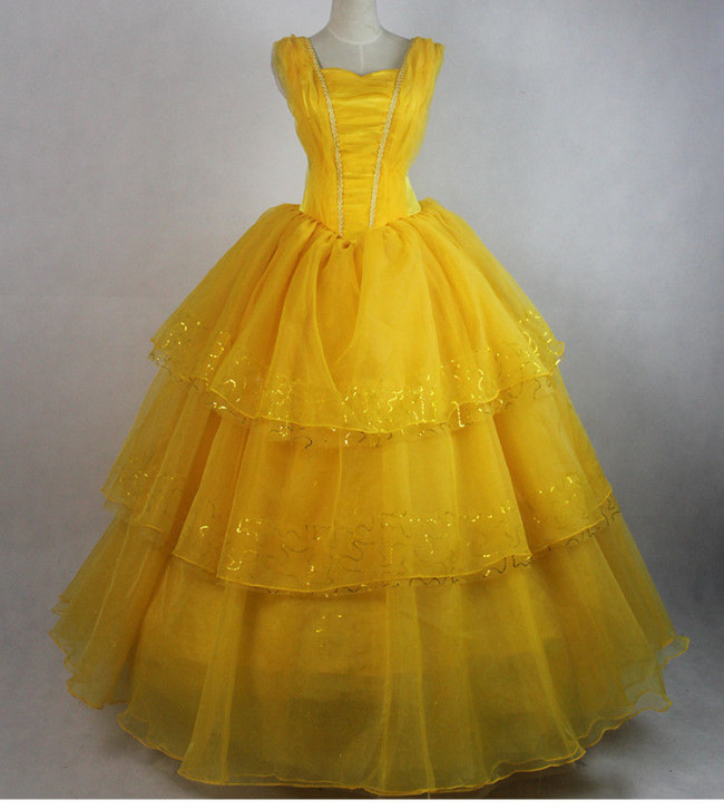Disney Beauty And The Beast Belle Cosplay Costume Dress For Ladies