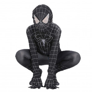 Boys Venom Black Spiderman Costume Kids Cosplay Spandex Bodysuit