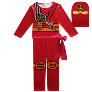 Boys Red Ninjago with Mask Cosplay Costume