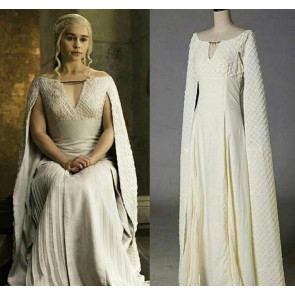 Game Of Thrones Daenerys Targaryen Long White Dress Cosplay Costume