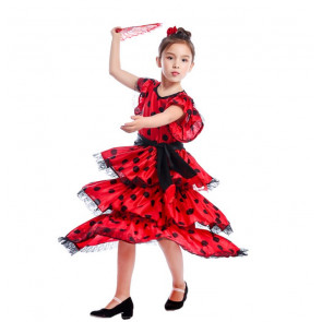Girls La Senorita Spanish Flamenco Dress Costume