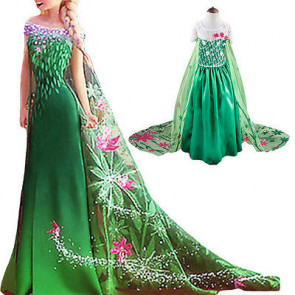 Elsa Frozen Fever Deluxe Costume Green Dress