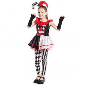 DC Super Villain Harley Quinn Jester Girls Costume