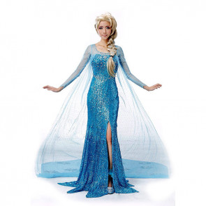 Disney Elsa Blue Dress Cosplay Outfit For Children and Adults Halloween Costume