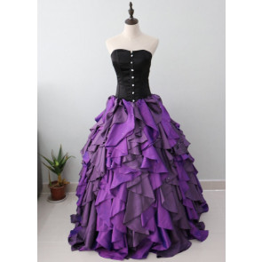 Purple and Black Organza Taffeta Ball Gown Costume Gothic Dress