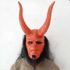 Hellboy Mask With Horns Wig Mask
