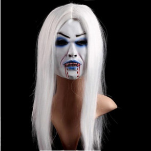Halloween White Zombie Ghost Face Mask Costume 2