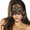 Halloween Black Face Mask Lace Crochet Headband Costume