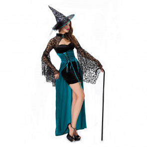 Halloween Masquerade Ball Lace Shawl Witch Long Dress With Hat Costume