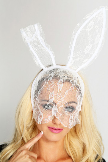 Halloween White Lace Long Bunny Ears Headband Costume