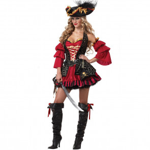 Halloween Sexy Pirate Dress and Hat Women's Costume