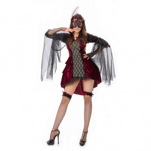 Halloween Masquerade Ball Fancy Vampire Queen Red Dress Costume