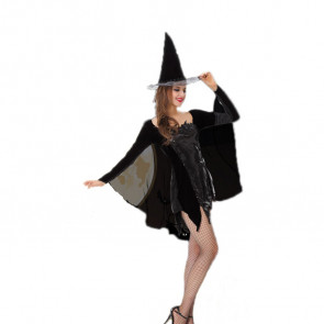 Halloween Masquerade Ball Sexy Witch Black Dress Costume