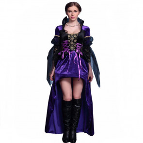 Halloween Masquerade Ball Fancy Evil Queen Purple Dress Costume