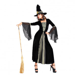 Halloween Masquerade Ball Spider Web Long Dress With Hat Costume