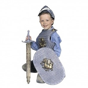 Halloween Roleplay Kids Crusader Knight Costume Sword, Helmet, Shield, Breastplate