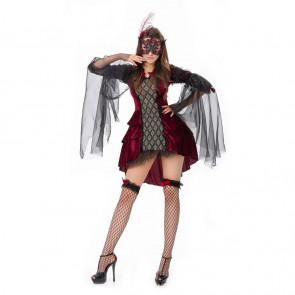 Halloween Masquerade Ball Fancy Vampire Queen Red Dress Costume