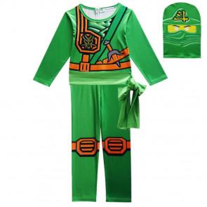 Boys Green Ninjago with Mask Cosplay Costume
