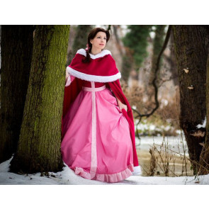 Belle Pink Snow Dress Cosplay Costume