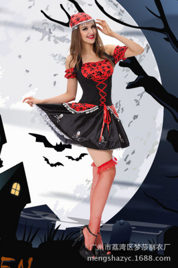 Halloween Masquerade Ball Sexy Women Pirate Dress Costume