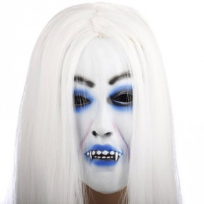 Halloween White Zombie Ghost Face Mask Costume