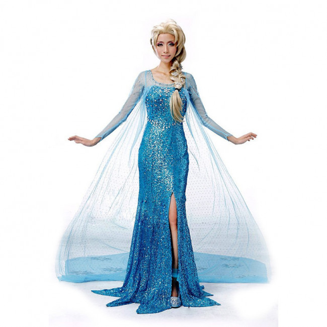 Disney Elsa Blue Dress Cosplay Outfit For Children And Adults