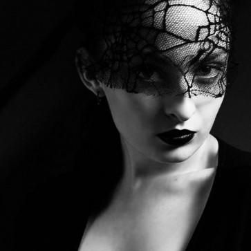 Halloween Black Face Mask Lace Headband Costume