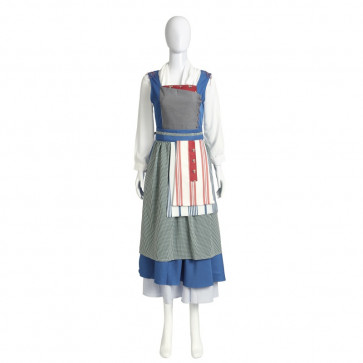 Disney Belle Blue Dress Cosplay Outfit For Children and Adults Halloween Costume