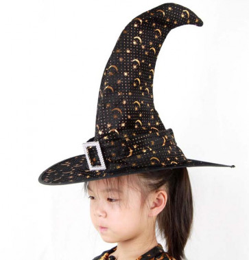 Halloween Prop Masquerade Ball Witch Rhinestone Buckle Hat Costume