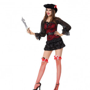 Halloween Masquerade Ball Women Pirate Red Lace Dress Costume