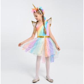 Girls Rainbow Unicorn Costume