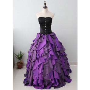 Purple and Black Organza Taffeta Ball Gown Costume Gothic Dress
